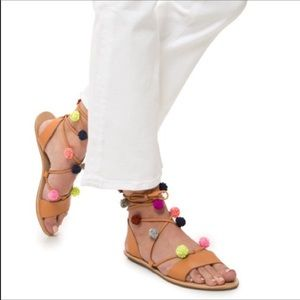 NWT Loeffler Randall 8.5 Saskia Flat Pompom Sandal